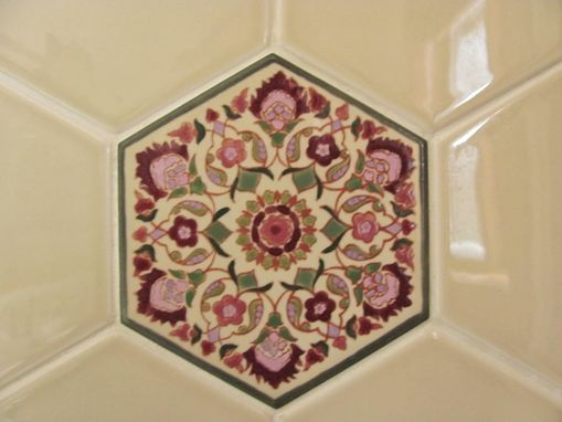 Custom Made Custom Bath Remodel: Tile Shower Surround - Vanity: Persian Hexagonal Tiles