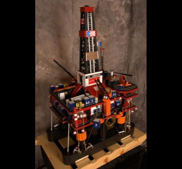 Custom Made Wooden Semi Submersible Oil Rig Model By Ben S