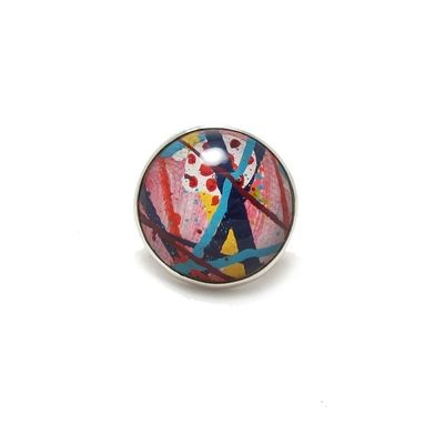 Custom Made Pink Striped Retro Ring - Large Resin Fashion Jewelry Ring