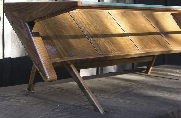 Hand Crafted Mid Century Modern Coffee Table With Gl Top Solid Wood Black Walnut By Custommade