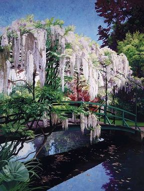 Custom Made Garden Painting: Wisteria Serenade
