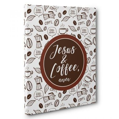 Custom Made Jesus And Coffee Kitchen Canvas Wall Art