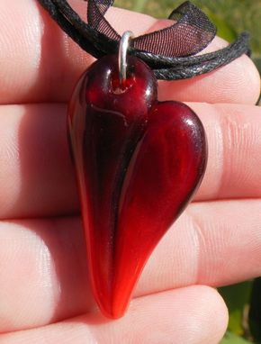 Custom Made Deep Red Glass Heart Necklace
