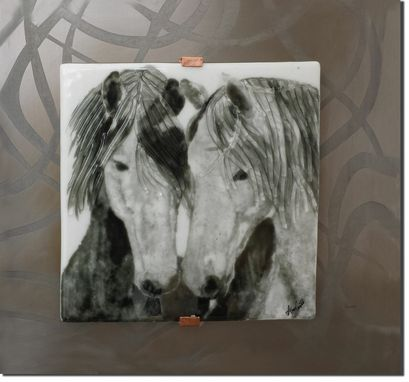 Custom Made Horse Harmony Fused Glass Wall Art