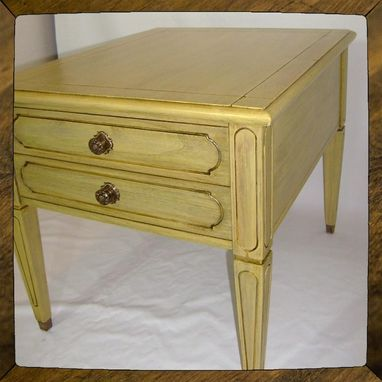 Custom Made Shabby Chic Yellow Side Table End Table Cottage Table