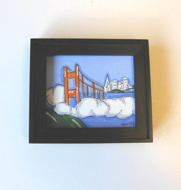 Custom Made Golden Gate Bridge Original Acrylic And Pen And Ink San Francisco Landscape