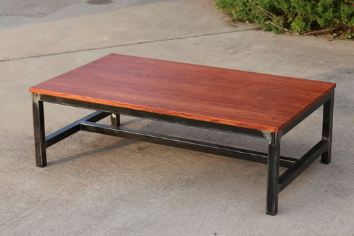 Custom Made Raw Steel & Pine Coffee Table
