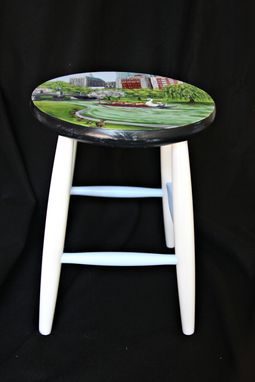 Custom Made Custom Painted Boston Themed Kitchen Stool