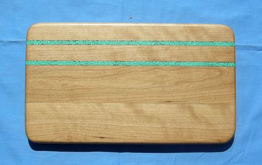 Custom Made Cherry Serving Board With Turquoise Inaly