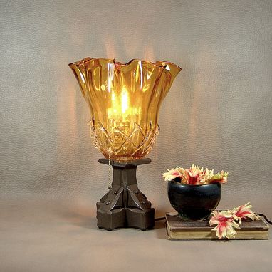 Custom Made Amber Glass Buffet Lamp: Vintage Lamp Base With Handmade Glass Shade