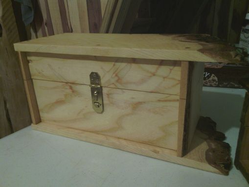 "Custom Made Solid Ash Box With Raw Edges ""Bear"""