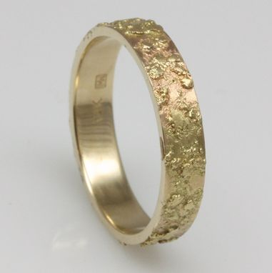 Custom Made 6mm Wide Textured Gold Wedding Ring