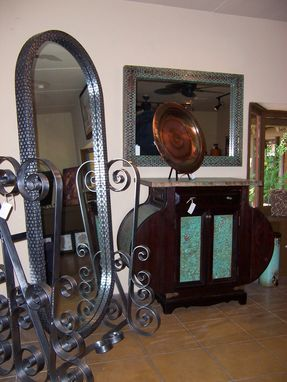 Custom Made Boxed Weaved Metal Cheval Mirror With Heavy Scroll Base