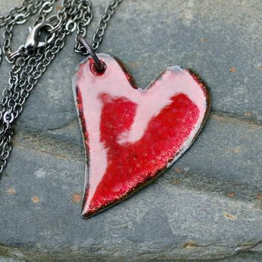 Custom Made Copper Enamel Heart Pendant Necklace Red Pink