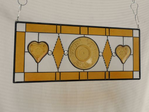 Custom Made Stained Glass Transom Window, Sandwich Glass Stained Glass Plate Panel With Vintage Tiara Hearts