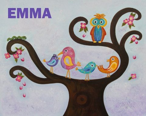 Custom Made Owl & Birds Nursery Wall Art For Girl Nursery / Kids Room Painting (Not A Print)