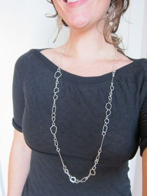 Custom Made Long Sterling Silver Faceted Chain - 36""