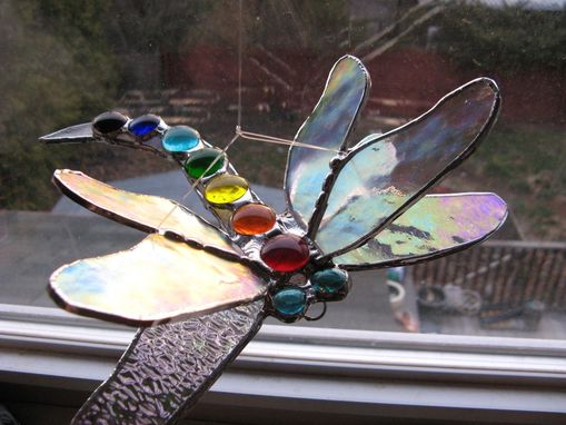 Custom Made Double Winged Stained Glass Dragonfly In Chakra Colors
