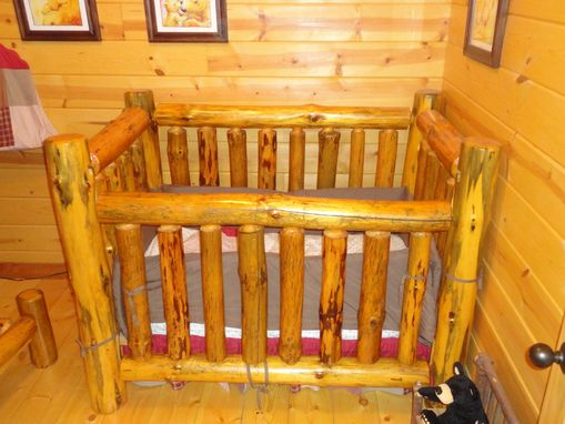 Custom Made Rustic Pine Log Crib