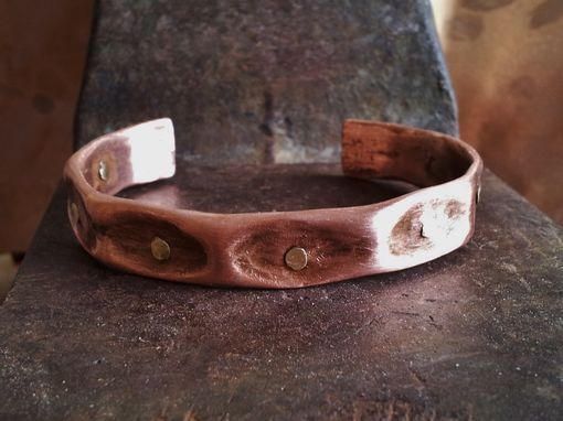 Custom Made Unisex Copper Cuff Bracelet With Thumbprint Design
