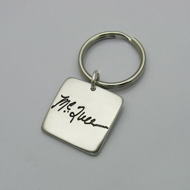 Custom Made Personalized Signature Sterling Silver Square Keychain Fob With Your Actual Handwriting Or Artwork