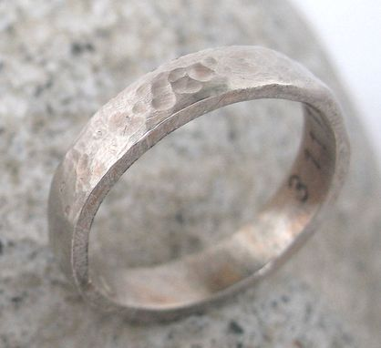 Custom Made 14k White Gold Wedding Ring With Inside Personalization, Unisex, Rustic Hammered Finish