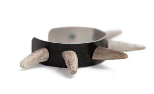 Custom Made Antler Bracelet With Bone Spikes On Alumium Cuff