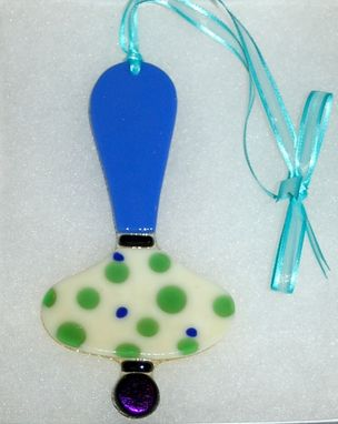 "Custom Made ""Green Dots"" Fused Glass Christmas Ornament"
