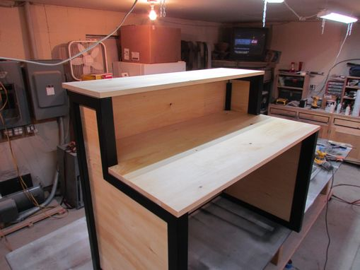 Custom Made Steel And Select Pine Reception Desk