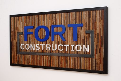 Custom Made Company Sign Made Of Reclaimed Barnwood And Steel.