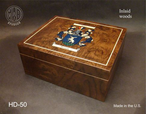 Custom Made Handcrafted Humidor With Inlaid Family Crest And Free Shipping.