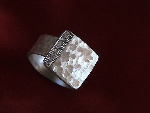 Custom Made Sterling Square With Diamond Pave