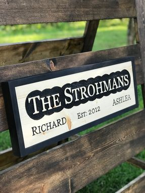 Custom Made Custom Routed Wood Family Name Sign