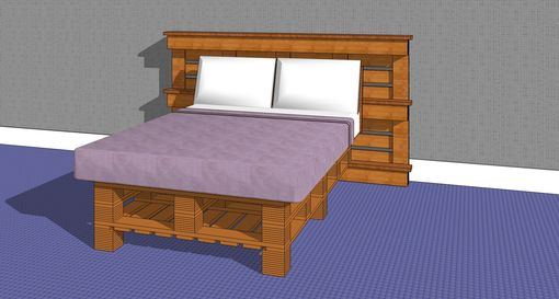 Custom Made Full W 15 Block Headboard & Block Feet