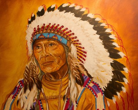 Custom Made Acrylic On Board Portrait For A Mural: Indians 3