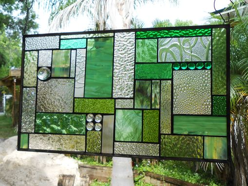 Custom Made Stained Glass Patchwork Quilt Window Panel, Geometric Stained Glass Transom Window, Shades Of Green