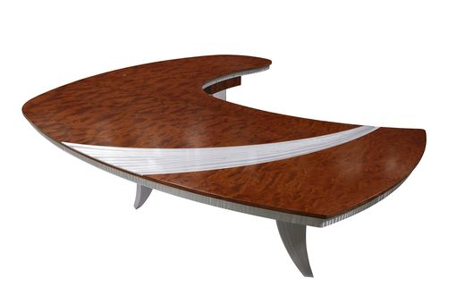 Custom Made The Paradigm Bubinga And Aluminum Metal Sculpture Desk
