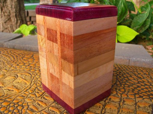 Custom Made Solid Wooden Boxes With Geometric Inlay