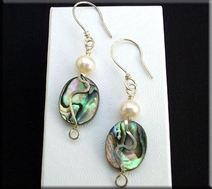 Custom Made Abalone And Freshwater Pearl Earrings
