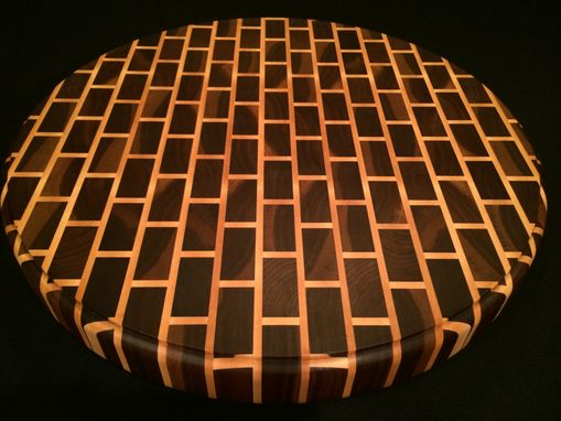 Custom Made Signature Black Walnut End Grain Round Cutting Board