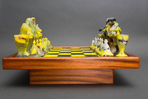 Custom Made Valley Of The Kings Dichroic Glass Chess Set
