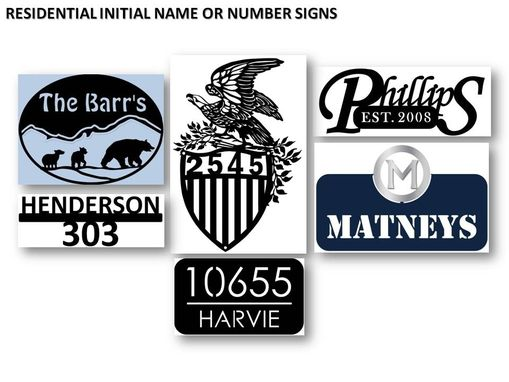 Custom Made Residential Initial Name And Number Signs In Metal - Silhouette Style