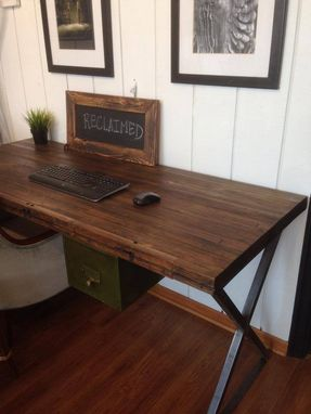 Custom Made Reclaimed Bowling Alley Desk With X Frame Metal Base
