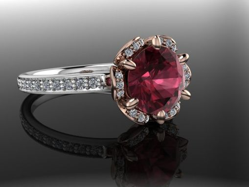Custom Made Rikka Diamond Top Garnet 14k Gold With Sterling Silver
