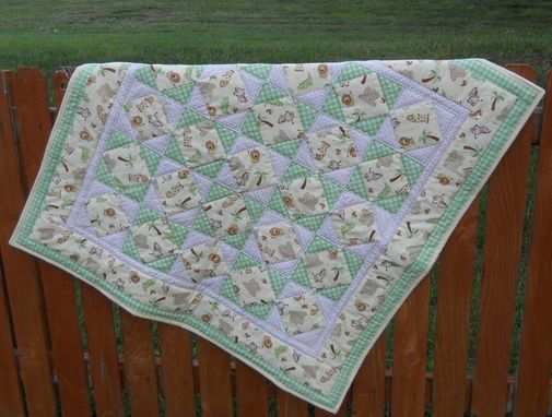 Custom Made Squares And Triangle Baby Quilt.