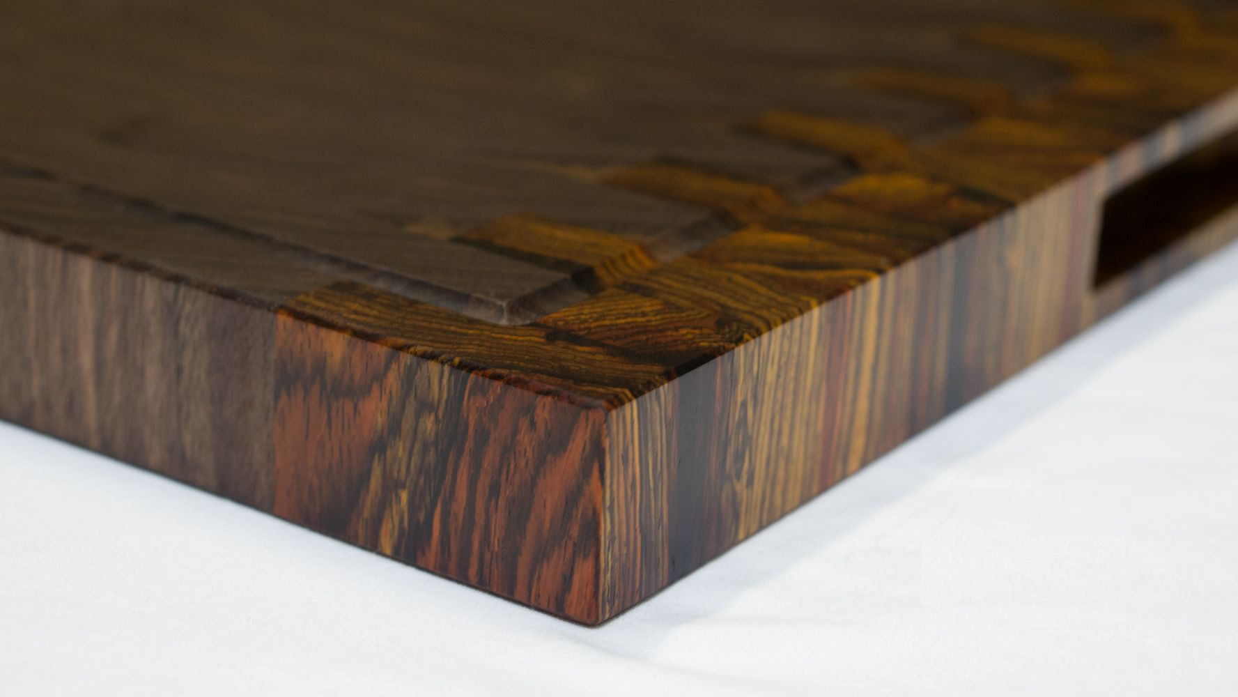 Custom Made Walnut And Cocobolo End Grain Cutting Board Handmade Reversible