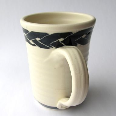 Custom Made Handmade Stoneware Mug With Celtic Knot In Black And White