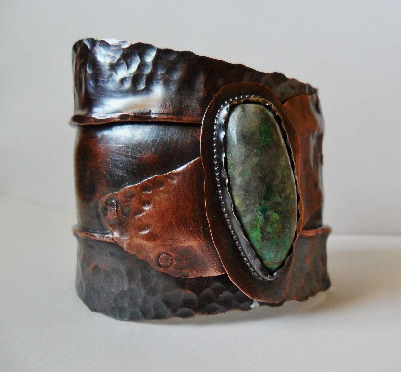 Custom Made Chrysocolla And Quarts Fold Formed Copper Cuff Bracelet Mens Womens