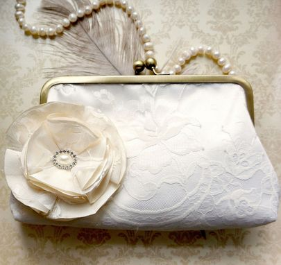 Custom Made Ivory Lace Bridal Clutch Purse With Champagne-Colored Floral Accent