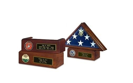 Custom Made Veteran Flag Case And Pedestal With Medallion